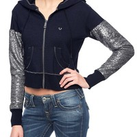 True Religion Crop Sequin Womens Zip Hoodie - Midnight