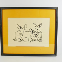 Vintage Rabbit Print, Hand Silk Screened Print, Bunny Picture, Animal Print, 1970's Signed Picture, Vintage Margaret Curtis Art