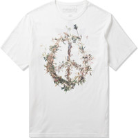 Maha White Edible Pacifist Asym Vent Slouch T-Shirt