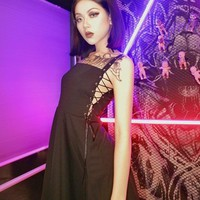 2018 Summer New Arrival Gothic punk Sexy Club Style Side Slit Cross Bandage Black Slip Dress Spaghetti Strap Vestdio