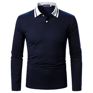 Men's Solid Stripes Long-sleeved Shirts
