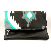 Ikat and Vegan Leather Foldover Clutch In Black and White, Dark Aqua, Metal Zipper, Cute Purse, For Her Under 30, Lined, On the Go