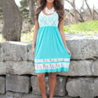Sky Blue Print Lace Summer Midi Dress