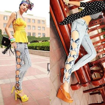 CREYUG3 Vintage Detailed Woman Side Bow Cutout Ripped Denim Sexy Jeans Jeggings Trousers  5028 = 1904728132