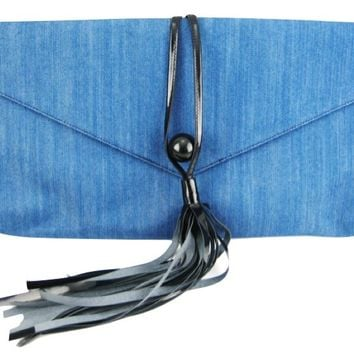 Denim and Patent Leather Envelope Clutch