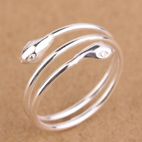 vintage 925 silver snake ring men womens gift 36