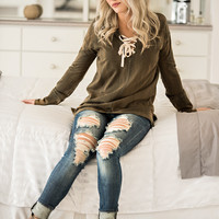 Up Swing Stone Wash Hooded Lace up Pull Over (Olive)
