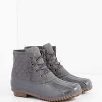 Gray Quilted Duck Boot | Duck Boots | rue21