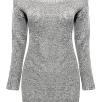 Grey Jumper with Dropped Shoulders