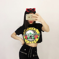 ZSIIBO 2017 Sexy Women T-Shirt GUNS & ROSES Print Crop Top Summer Fashion Short Sleeve Cropped Tops Lady Punk Tees bbTx47