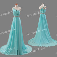 Ice Blue Cross Strapless One-Shoulder Sheath Long Bridesmaid Celebrity Dress,Chiffon Formal Evening Party Prom Dress New Homecoming Dress