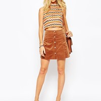 Glamorous Cord A-line ButtonThrough Mini Skirt at asos.com