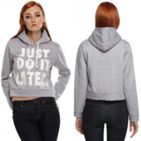 So Col Hedging  Loose Hooded Letter Short Shirt Long-sleeved Sweater