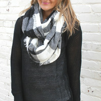 Buffalo Check Frayed Infinity Scarf - Navy Blue, Red or White