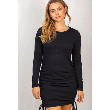 Can't Resist Black Long Sleeve Ruched Bodycon Dress