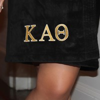 Monogrammed Sorority Velour Wrap with Kappa Alpha Theta in Two-Tone