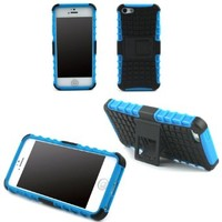 JAVOedge Blue Active Armor Case with Kickstand Protective Shell, Hand Grip for the Apple iPhone 5S / 5