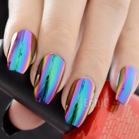 Chameleon Color Metallic Press On Nails Medium Flat Coffin Acrylic Nail Tips Mirror Faux Ongles with Glue Sticker Z905