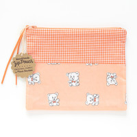 Orange Gingham + Bow Tie Teddy Bear Zipper Pouch
