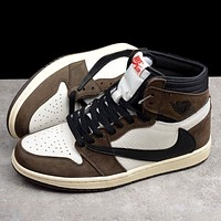 Travis Scott x Air Jordan 1 AJ1 barb wild casual high-top sneakers shoes