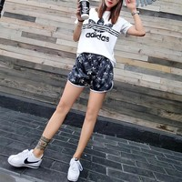 """Adidas"" Women Casual Fashion Personality Letter Logo Pattern Print Short Sleeve Shorts Set Two-Piece Sportswear"