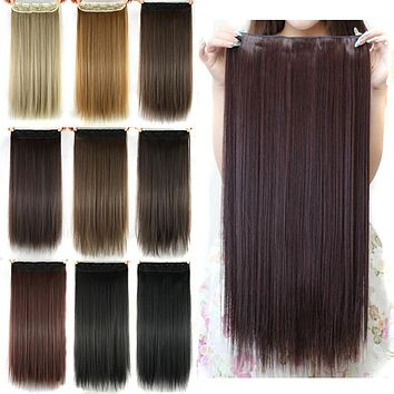 Soowee Long Straight Women Clip in Hair Extensions Black Brown High Tempreture Synthetic Hair Piece