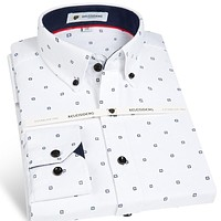 Men's Long Sleeve Cotton Oxford Plaid Dress Shirt with Front Pocket High-quality Smart Casual Standard-fit Button-down Shirts