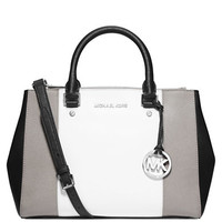 Michael Michael Kors Sutton Leather Center Stripe Medium Satchel