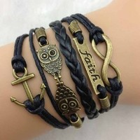 Jiayiqi Women Vintage Antique Bronze Anchor Rudder Owl Charms Leather Rope Bracelet Wristband
