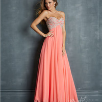 Coral Chiffon & Embroidered Jeweled Bodice Prom Dress