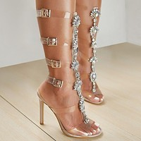Women Shoes Transparent Belt Button Hollow Out Roman Sandals with Rhinestone