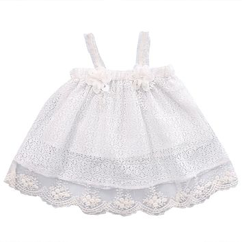 Infant Toddler Newborn Kids Baby Girls Princess Party Dress Sleeveless Tutu Lace Flower Mini Dresses 0-24M