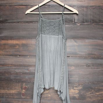 final sale - BSIC - acid wash flyaway sleeveless tank top - charcoal