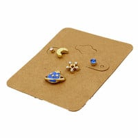 Blue Jewel Planet Moon And Star Earring