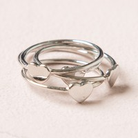 SILVER STACKED HEART RING