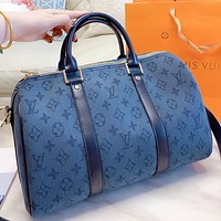 LV New fashion monogram print canvas shoulder bag crossbody bag handbag Blue