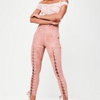 Missguided - Pink Faux Suede Lace Up Leggings