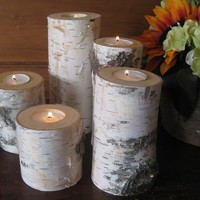 Birch Bark Candle Holders Home Decor Wedding Christmas Centerpiece Rustic Wood Logs