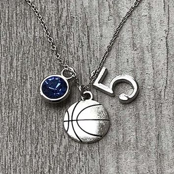 Personalized Basketball Necklace with Birthstone & Number Charm
