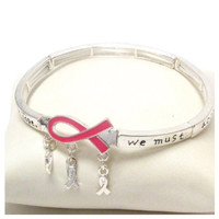 "Inspirational ""Awareness"" Pink Ribbon Hanging Charm Message Engraved Stretch Bracelet"