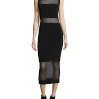 Sleeveless Sheer-Inset Midi Dress,