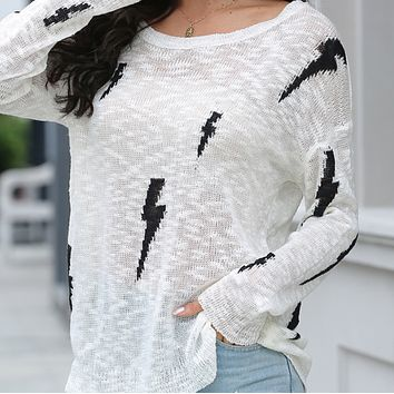 Explosion style hot sale hollow knit printing off-shoulder top