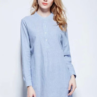 Blue Vertical Stripe Long-Sleeve Button Dress Shirt
