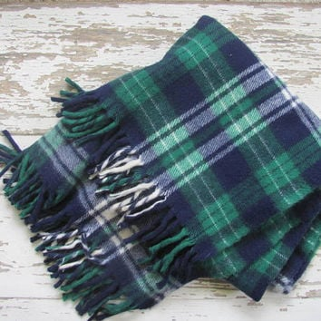 vintage green and blue plaid lap blanket // camp