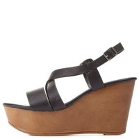 Bamboo Strappy Platform Wedge Sandals by Charlotte Russe
