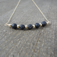 14k gold filled round black lava rock bead curved bar necklace / bridesmaid necklace / minimalist / dainty necklace / essential oil diffuser