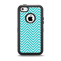 The Trendy Blue & White Sharp Chevron Pattern Apple iPhone 5c Otterbox Defender Case Skin Set