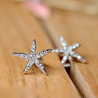 Rhinestones Starfish Mermaid Earrings