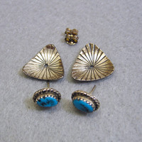 Native American Sterling Turquoise Pierced Earrings, Studs and Jackets