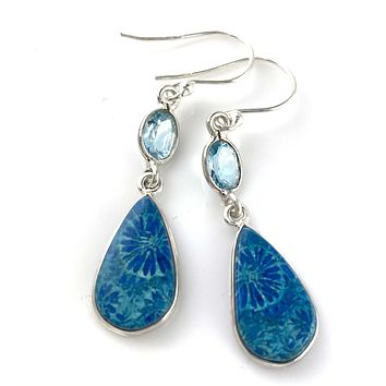 Blue Fossilized Coral & Blue Topaz Sterling Silver Pear Earrings